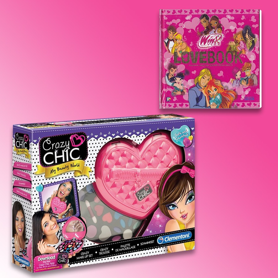 Clementoni Make-Up Crazy Chic Trousse + Winx, Love Book