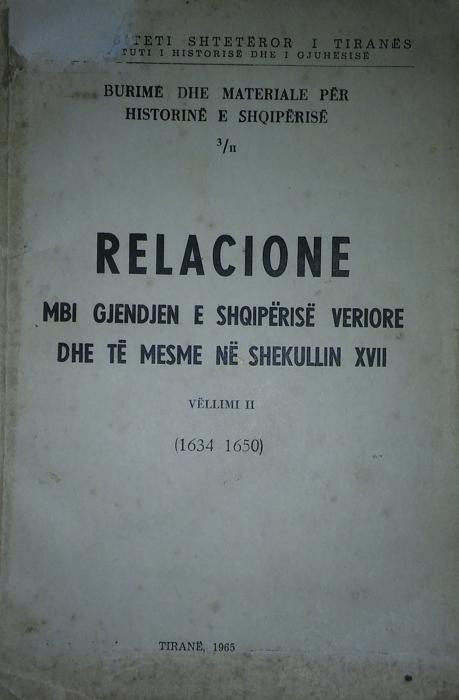 Relacione mbi gjendjen e Shqiperise V dhe mesme ne shek 17