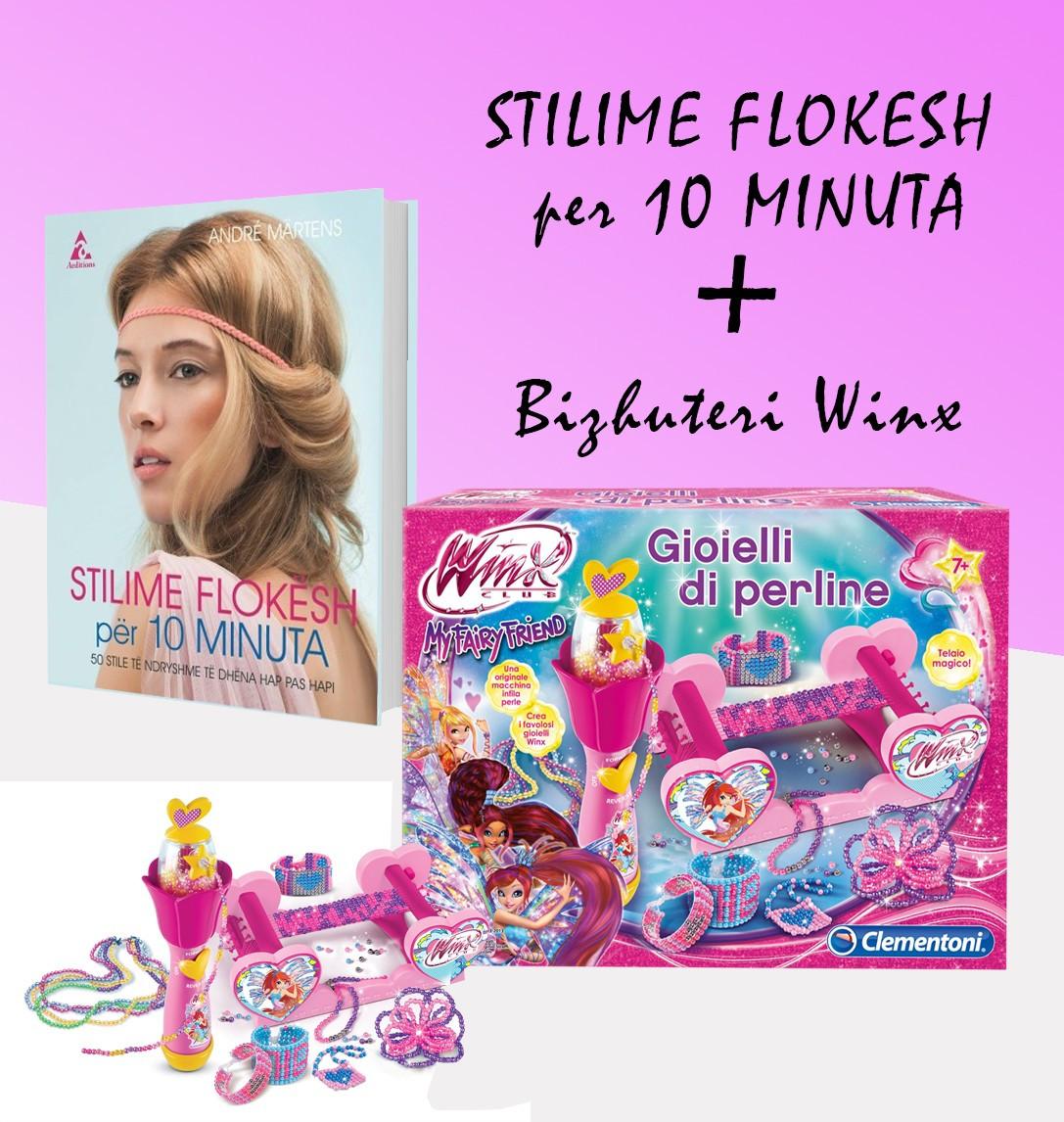 """Set bizhuteri Winx + Libri """"Stilime flokësj për 10 minuta"""""""