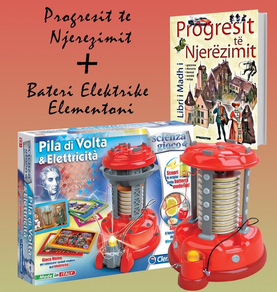 """Set Bateri elektrike + Libri """"Progresi i njerëzimit"""""""
