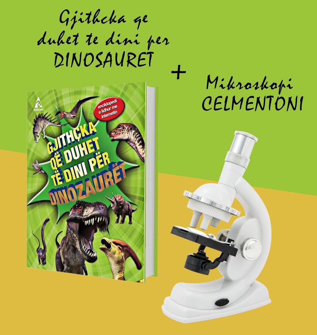 """Set Mikroskopi Clementoni + Libri """"Gjithçka që duhet të dini mbi dinozaurët"""""""