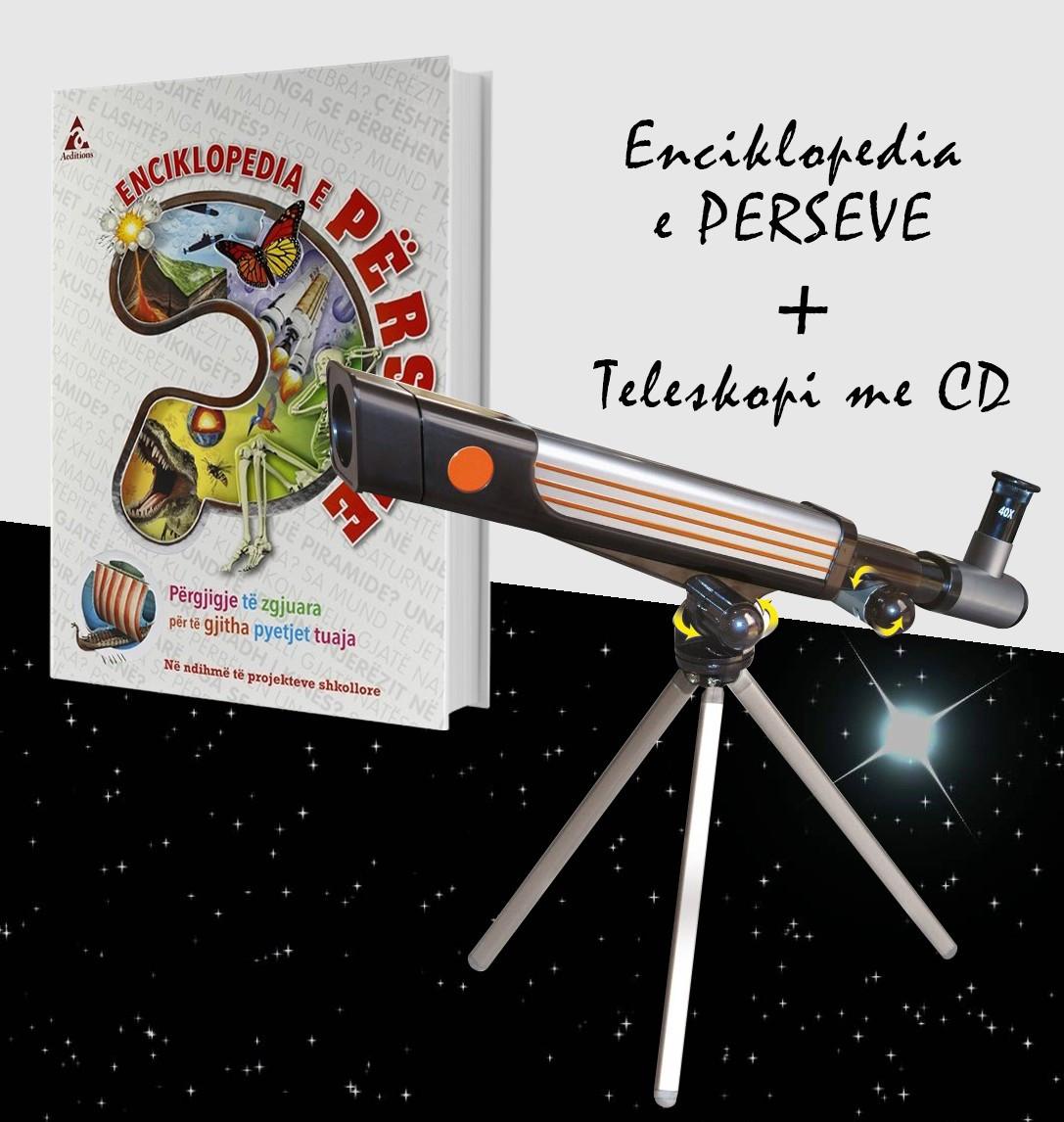 """Set Teleskopi me CD + Libri """"Enciklopedia e përseve"""""""